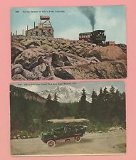 Pr Postcards Featuring Transportation Tram & Car Pikes Peak Unposted Nice Colors