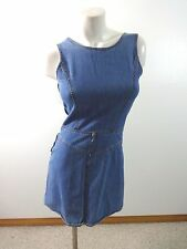 ANN TAYLOR WOMENS BLUE DENIM JEAN JUMPER MINI DRESS SIZE 4