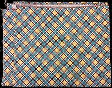 Feedsack Check Plaid Print 100% Cotton Vintage 1940-50 Blue Yellow Brown Cloth