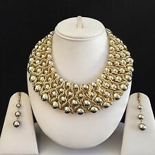 GOLD SILVER INDIAN BOHO COSTUME JEWELLERY NECKLACE EARRINGS CRYSTAL SET NEW GIFT