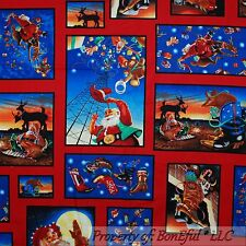 BonEful FABRIC FQ Cotton Quilt VTG Red Santa Cowboy Suit Reindeer Block Boot Hat