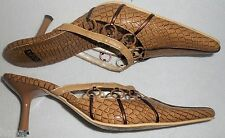 ESCADA EXOTICS Shoes 37 7 B  Beige Tan Brown Bronze Snake Crock Lizard Leather