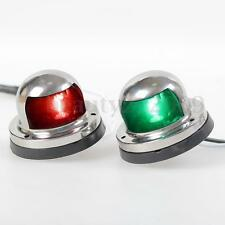 2x 12V Marine Boat Yacht Bulb Bow Navigation Light Stainless Steel Red & Green