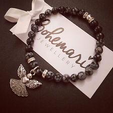 Snowflake obsidian guardian angel charm bracelet gemstone jewellery boho gypsy