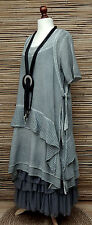 LAGENLOOK*KEKOO*OVERSIZE LAYERING QUIRKY 2 PCS DRESS+OVERTOP*GREY*SIZE L-XL