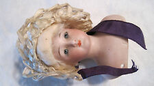 Vintage Bisque Doll Head with Hair & hat S & H 1160-1