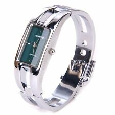 Silver Women Bangle Bracelet Wrist Watch - Stunning Open Bangle Style For Ladies