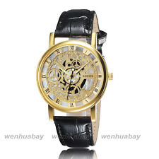 Mens Black Leather Skeleton Hollow Dial Roma Numerals Wrist Watch Boy Gifts 2711