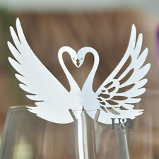 60 Ivory Swan Wedding Place Name Cards Glass Laser Cut Luxury Pearlescent Card