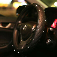 CAR STEERING WHEEL COVER LUXURY CRYSTAL BLACK STITCHES LEATHER VEHICLE