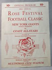 1935 NY GIANTS v COAST ALL-STARS first pro football game ever in Portland Oregon