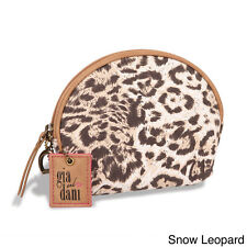 GIGI HILL GIA AND DANI SMALL MAKEUP COSMETICS BAG COIN PURSE SNOW LEOPARD NWT