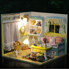 DIY New Doll House Mini Wooden Living Room Dollhouse With Lights Furniture Gift