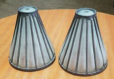 Vintage Cast Iron Blown Frosted Glass Outdoor Architecture Lamp Shade Pair