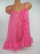 Victoria Secret Babydoll Lingerie Teddy Pink Polka Dots Small S NEW