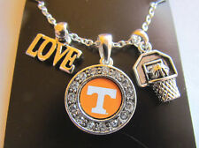 TENNESSEE VOLUNTEERS LOVE BASKETBALL CHARM LOGO Necklace Rhinestone Jewelry  New