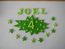 cake decorations name, superhero age sign  and loose stars, superhero style