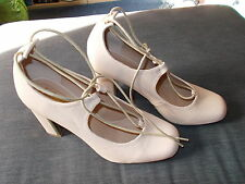 Truffle Faux Leather Ankle Tie Block Heel Shoes UK8 EU42 Nude BNWT