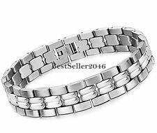 Men's Heavy Solid Polish Silver Stainless Steel Chain Link Bracelet 8.7 Inch