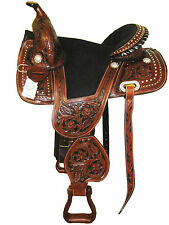 """""""THSL"""" LEATHER TREELESS SADDLE BROWN/BLACK SUEDE PADDED  SEAT 16"""" (WLN_2002BR)"""