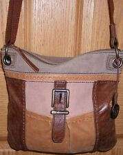 Two Tone Brown Leather The Sak Cross Body Purse Shoulder Bag & Purse Fob