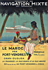 Art Ad Marseille and North Africa Navigation Mixte Ship Travel Deco Poster Print