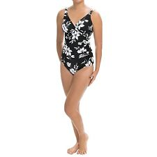 Orig. $150.00 Miraclesuit 18 48 Wrap Swimsuit Black White Floral 1 Piece