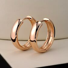 Cool 18k Yellow Gold Filled Smooth Lady Earrings 21MM Women's Hoop 5mm Jewelry