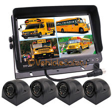 "9"" QUAD SPLIT SCREEN TFT LCD MONITOR TRUCK TRAILER BACKUP CAMERA SYSTEM FOR RV"