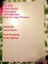 5  NEW A4 Blank Glossy Self Adhesive Sticker Label Laser Printer Paper clearance