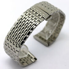 22mm Stainless Steel Silver Watch Band Replacement Band for Mens Strap Gifts