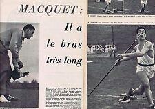 COUPURE DE PRESSE CLIPPING 1956 MICHEL MACQUET Javelot  (4 pages)