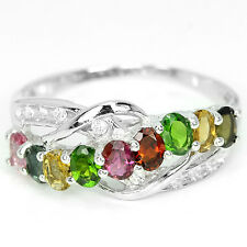 Sterling silver 925 Genuine Tourmaline Crossover Design Ring Size T.5  (US 10)
