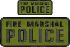 FIRE MARSHAL POLICE embroidery Patches 4x10 and 2x5 hook on back  OD GREE