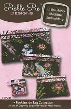 PEEK INSIDE BAG COLLECTION, Machine Embroidery CD From Pickle Pie Designs NEW