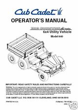 Cub Cadet Owners Manual Model #640 6x4 Utility Vehicle