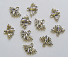 10 Metal Antique Silver Colour Bee Charms - 21mm