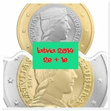 Latvia 1 And 2 Euro 2 Coins 2014 New BUNC. From Roll