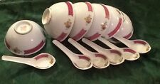 Fine Porcelain SET OF 6 Chinese Soup or Rice Bowls and 6 Soup Spoons