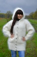 White hooded Cardigan with buttons Hand Knitted Angora Mohair Cashmere warm - M