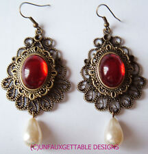 TUDOR MEDIEVAL / GOTHIC  EARRINGS GARNET RED GLASS LARP RENAISSANCE  SCA