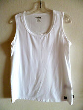Carhart for Women White  Cotton Blend Knit  Tank Top  Scoop Neck  Sleeveless   L