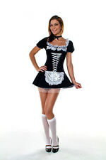 Adult Womens Sexy Classic French Maid Dress Halloween Costume 2pc Small/Medium