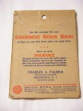 WWII Ration Book Holder AETNA Life Insurance Co Advertisement Tel #AH-5300