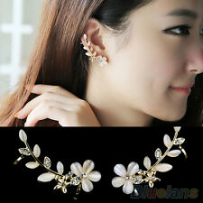 2 Pcs Pearl Diamante Rhinestone Ear Cuff Stud Earrings Gold Floral Ivory Clip On