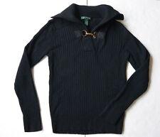Lauren Ralph Lauren Buckle Closure Top Sweater S Black Cotton Solid Pullover