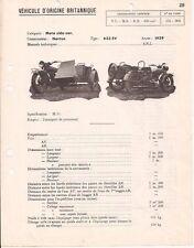 Fiche Technique Norton Side-car 633SV - 1939