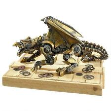 Steampunk Mechanized Fantasy Dragon  Burnished Brass Finish Sculpture