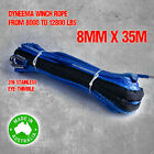 Dyneema SK75 Synthetic Winch Rope, Cable 8mm x 35m, 4WD Boat Recovery Offroad