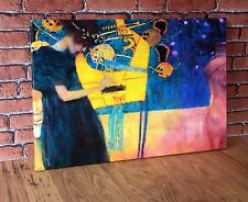 "THE MUSIC by GUSTAV KLIMT 16x12"" Large Modern Canvas Wall Art Picture Print New"